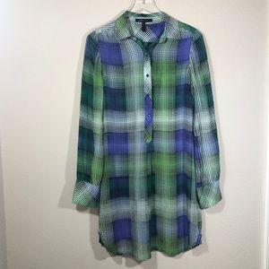 BCBGMAXAZRIA PATTERNED SHIRT DRESS 100% SILK